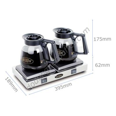 kích thước Bộ bếp hâm nóng cà phê bình thuỷ tinh Queen Coffee CQB-2
