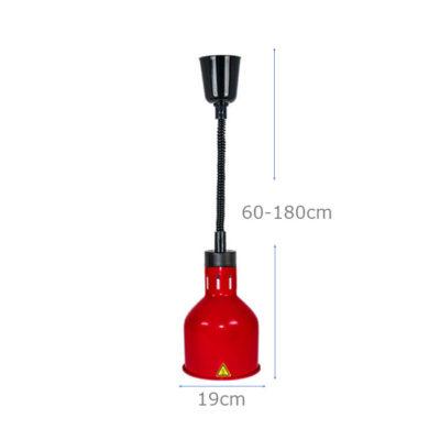 Kích thước Đèn giữ nóng thức ăn treo trần inox màu đỏ DA2507