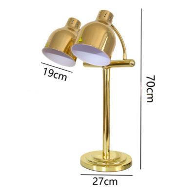 Kích thước Đèn hâm thức ăn buffet 2 bóng inox vàng DA2537-2