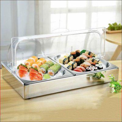 Khay trưng bày thức ăn lạnh inox chữ nhật 1 ngăn KB1140-2