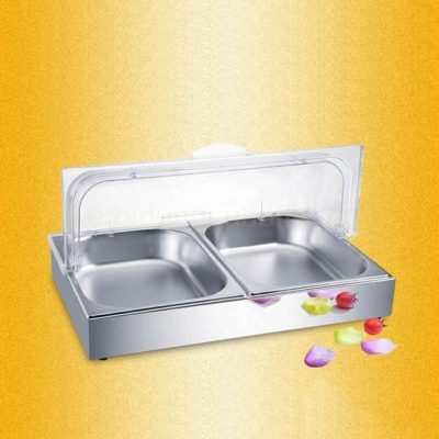 Khay đựng thức ăn buffet inox chữ nhật khay đôi KB1265