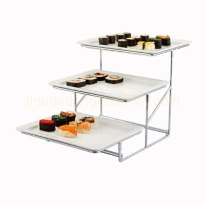 Kệ để thức ăn bàn tiệc buffet 3 tầng khay menlamine 1/2 KB27-T20