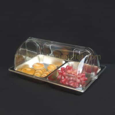 khay trưng bày thức ăn inox chữ nhật có nắp PC KB2703-65