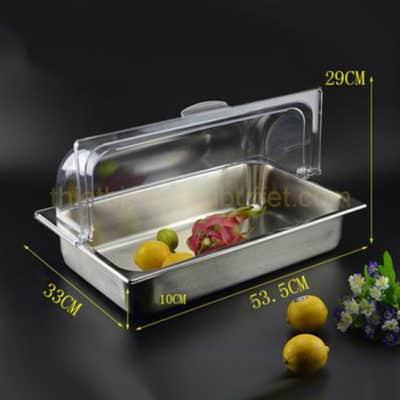 khay trưng bày thức ăn inox chữ nhật có nắp PC KB2704-100