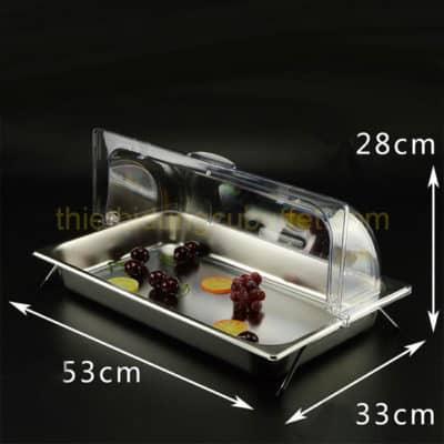 Kệ để khay inox trưng bày thức ăn 1 ngăn nắp PC KB2706-165