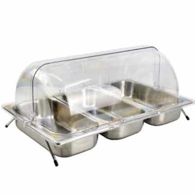 Kệ để khay inox trưng bày thức ăn 3 ngăn nắp PC KB2706-365