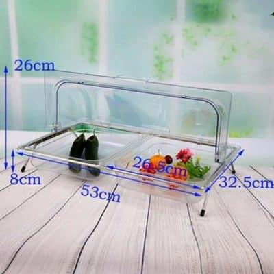 Kệ để khay nhựa trưng bày thức ăn 2 ngăn nắp PC KB2706-N265