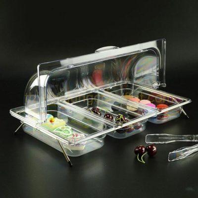 Kệ để khay nhựa trưng bày thức ăn 3 ngăn nắp PC KB2706-N365