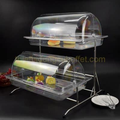 Kệ đựng thức ăn buffet 2 tầng nắp PC thu gọn KB2711