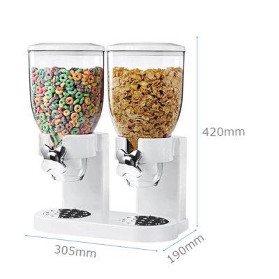 Kích thước Bình đựng ngũ cốc nhựa trắng 2 ngăn giá rẻ NC2401-2