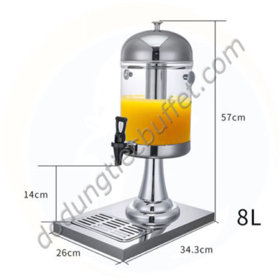 Kích thước Bình đựng nước ép trái cây 8l giá rẻ 1 ngăn BC2201-R